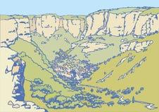 Ландшафт с деревней в горах Стоковое Изображение