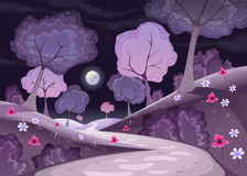 Ландшафт с деревьями и путем в ноче Стоковая Фотография RF