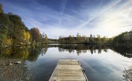 Ландшафт с деревянной пристанью на озере aced Южная Богемия, чехия, евро стоковые фото