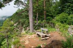 Ландшафт с деревянной скамьей на скале Стоковое Фото