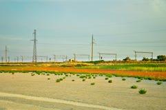 Ландшафт с железной дорогой Стоковое Изображение RF