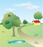 Ландшафт с желтым домом иллюстрация штока