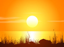 Ландшафт с заходом солнца на seashore бесплатная иллюстрация
