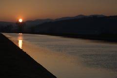 Ландшафт с заходящим солнцем в дереве стоковое изображение rf