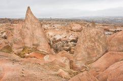 Ландшафт с каменными образованиями желтыми и красными цветами в долине Стоковое Изображение