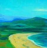 Ландшафт с морем, пляжем и горами бесплатная иллюстрация