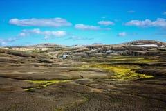 Ландшафт с мхом в Исландии Гора и вулканическая область Стоковые Изображения