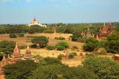Ландшафт с пагодой и висками в Bagan стоковое изображение