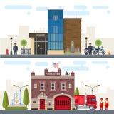 Ландшафт с полицией и пожарным депо зданий иллюстрация вектора