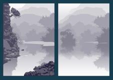 Ландшафт с рекой и деревьями горы Каньон ущелья Стоковые Фотографии RF
