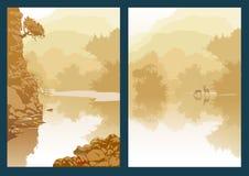 Ландшафт с рекой и деревьями горы Каньон ущелья Стоковое фото RF