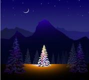 Ландшафт с Рождеством Христовым & зимы иллюстрация вектора