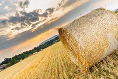 Ландшафт с связками на поле на заходе солнца Стоковое Изображение