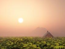 Ландшафт с сельским домом Стоковые Изображения RF