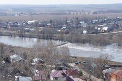 Ландшафт с стерляжиной реки в зоне Zaraysk Москвы Стоковое Изображение