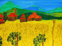 Ландшафт с холмами и домами, l картиной Стоковое Фото