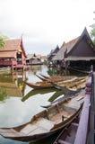 Ландшафт тайской деревни берега реки стиля Стоковое Изображение RF