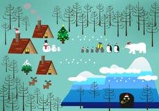Ландшафт темы рождества Стоковая Фотография RF
