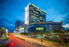 Ландшафт торгового центра MBK в предыдущем nighttime Стоковое Изображение RF