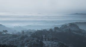 Ландшафт Тосканы на сумраке стоковая фотография rf