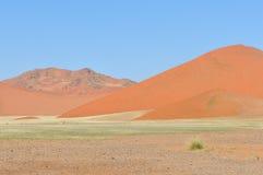 Ландшафт травы и дюны около Sossusvlei, Намибии Стоковое Изображение