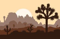Ландшафт утра с деревом и горами Иешуа над заходом солнца иллюстрация вектора