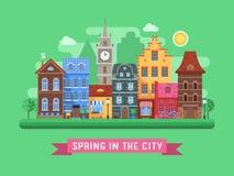 Ландшафт улицы весны Европы Стоковые Изображения RF