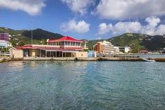 Ландшафт улицы городка дороги города в Tortola стоковые фотографии rf