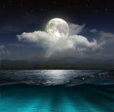 Ландшафт фантазии - луна, озеро и рыбацкая лодка Стоковые Изображения RF
