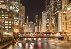 Ландшафт Чикаго городской на ноче Стоковое Изображение