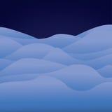 Ландшафт шаржа ледовитый, предпосылка с льдом и холмы снега Стоковая Фотография RF