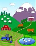 Ландшафт шаржа фермы Стоковое Фото