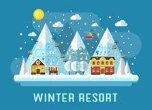 Ландшафт лыжного курорта зимы плоский Стоковые Изображения