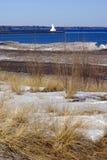 Ландшафт Snowy с маяком Стоковые Изображения