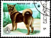 ЛАОС - ОКОЛО 1986: штемпель почтового сбора, напечатанный в Лаосе, показывает Elkhoun Стоковые Фотографии RF