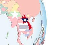 Лаос с флагом на глобусе бесплатная иллюстрация