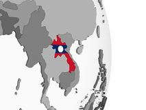 Лаос с флагом на глобусе иллюстрация вектора