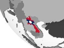 Лаос с флагом на глобусе иллюстрация штока