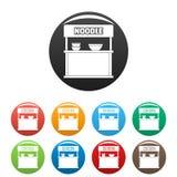 Лапша продавая установленный значками вектор цвета Стоковые Фото