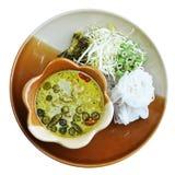 Лапша риса с ckicken зеленое карри (тайская еда) Стоковое Изображение RF