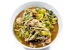 Лапша, тайская лапша, тайское мясо лапши Тайская лапша утончает линию стоковая фотография rf