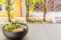 Лапши риса в соусе карри цыпленка с овощами Стоковые Фотографии RF