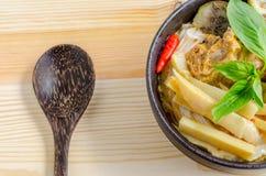 Лапши риса в соусе карри цыпленка с овощами Стоковое фото RF