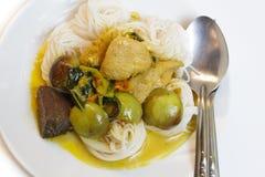 Лапши риса с карри зеленого цвета цыпленка. Стоковые Изображения