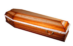 Ларец гроба с латунными ручками Стоковое фото RF