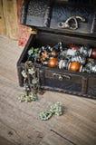 Ларец с ювелирными изделиями и старой книгой Стоковое Фото