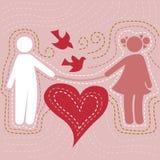 Ласковые пары в влюбленности иллюстрация вектора
