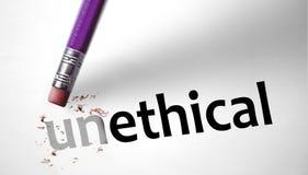 Ластик изменяя слово неэтичное для этичного Стоковое фото RF