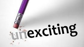 Ластик изменяя слово Unexciting для возбуждать Стоковое Изображение