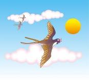Ласточки летая в небо Стоковые Изображения RF